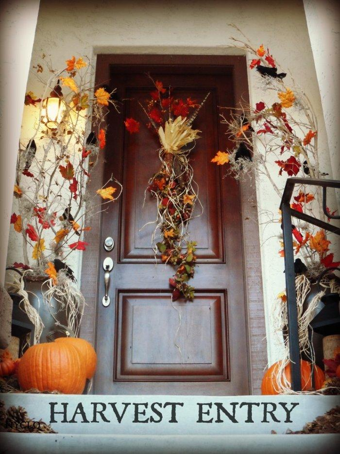 Halloween entry door - with tree branches