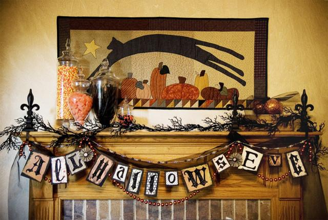 halloween garland and fireplace decorations 36 ideas for your home