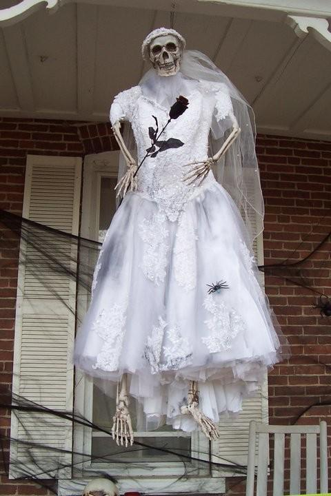 Halloween Skeleton In Wedding Dress Carrying A Black
