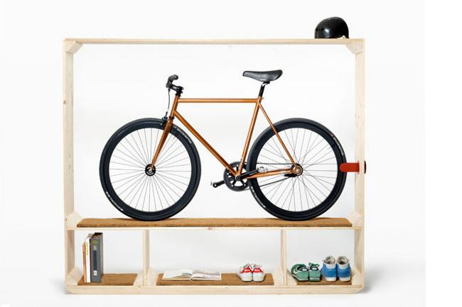 """Shoes Books And A Bike"""" storage unit by Thomas Walde - Decorative Ideas for Small"""