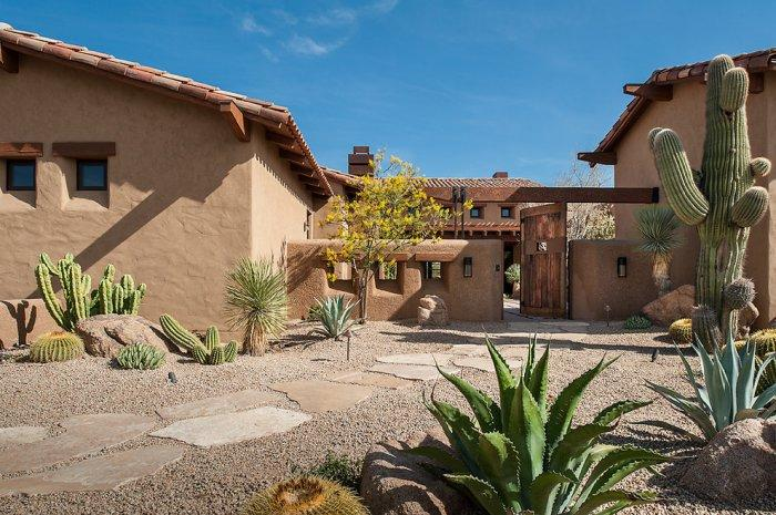 A path of native stone pavers - Luxury Rustic Family Desert House in Arizona