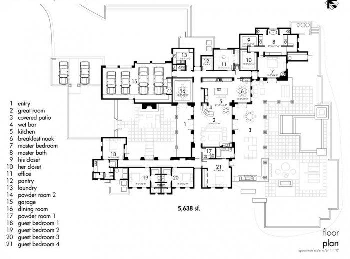 Architectural plan of a Luxury Rustic Family Desert House in Arizona