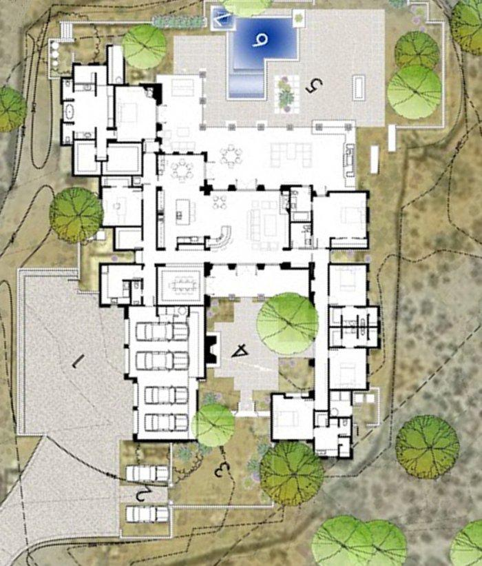 Architectural plan of the Luxury Rustic Family Desert House in Arizona