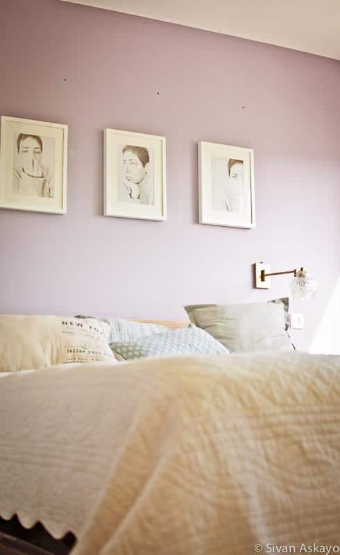 Bedroom with self portraits on the wall - Unique Eclectic Home Interior