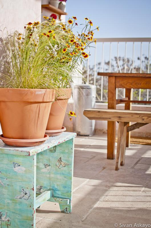 Clay flower pots adorn the rooftop terrace - Unique Eclectic Home Interior