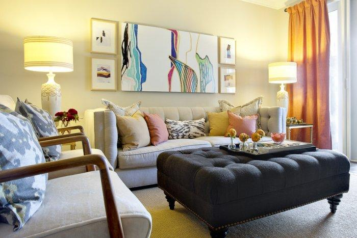 Contemporary living room furniture and modern wall art - an Eclectic Home in OC