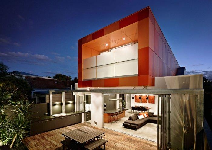 Contemporay orange facade and open plan living room - Outstanding Stylish House in Melbourne