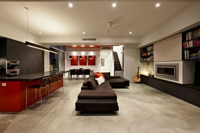 Contemporary stylish black and red living room - Outstanding House in Melbourne