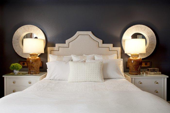 Dark colored eclectic master bedroom design - a Home in OC