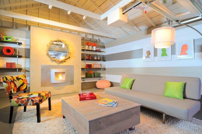 Garage party remodeling ideas - Family Fun Room Design Behind the Garage Door