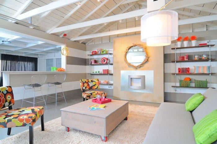 Garage turned into a cheerful room - Family Fun Room Design Behind the Garage Door
