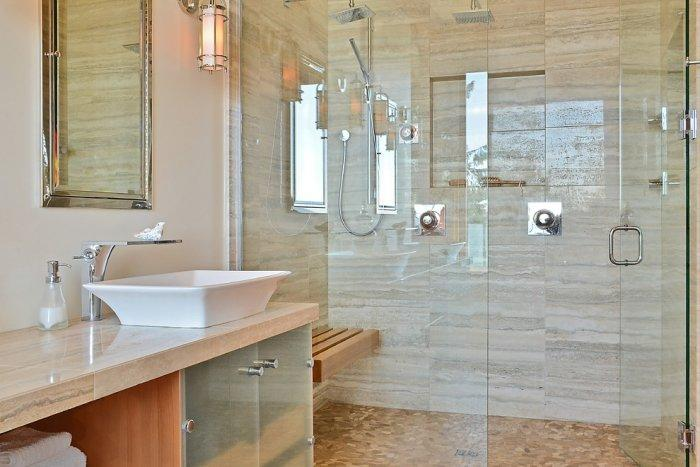 The glass sliding doors in the master bathroom allow enough sunlight - The Dream Coastal House With Heavenly Ocean Views