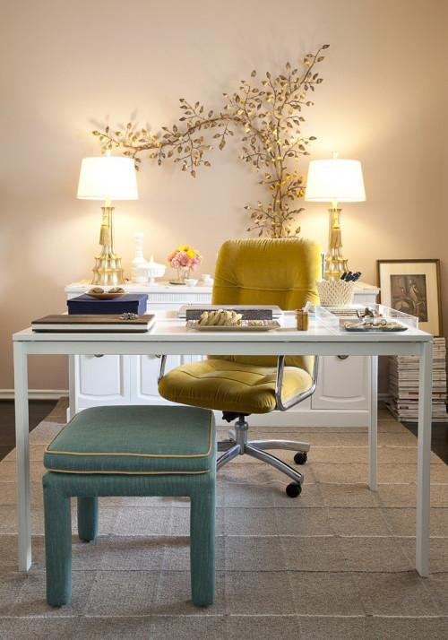 Home office with elegant golden touch - an Eclectic Home in OC