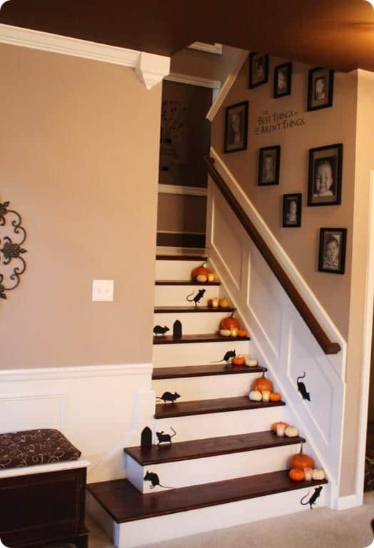 Home staircase decorated with mice wall decals for Halloween - 36 Ideas for Your Home