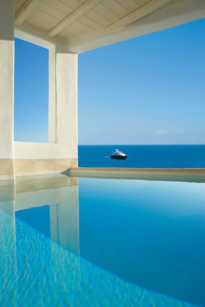 Inner pool with fascinating view over the Mediterranean sea - The Paradise Seaside Villa in Mykonos, Greece