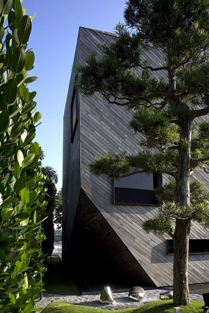 Ironwood facade and green plants - The Contemporary Diamond House by Formwerkz Architects