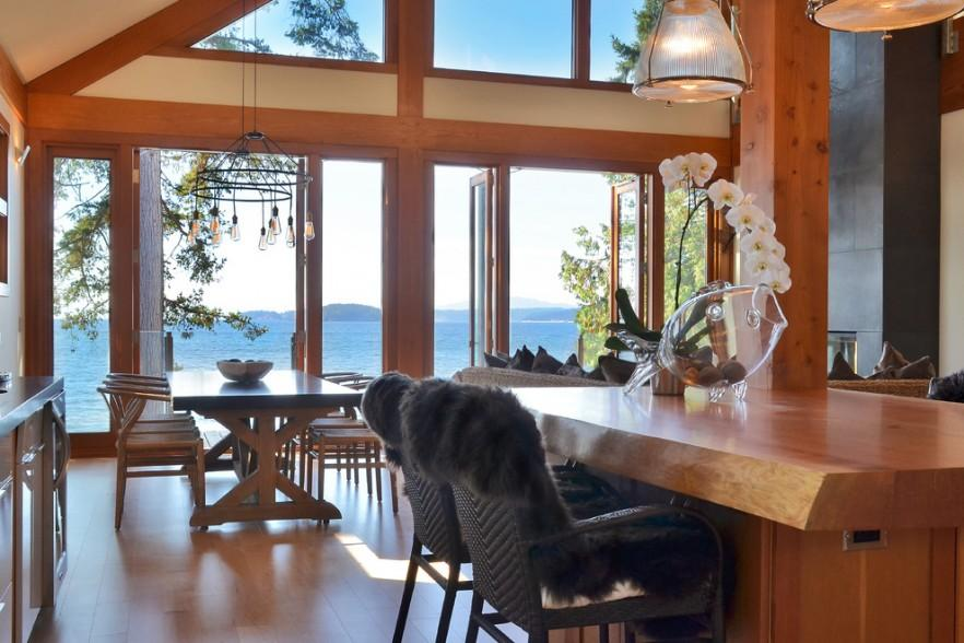 The French doors in the living room allow heavenly sceneries over the ocean- The Dream Coastal House