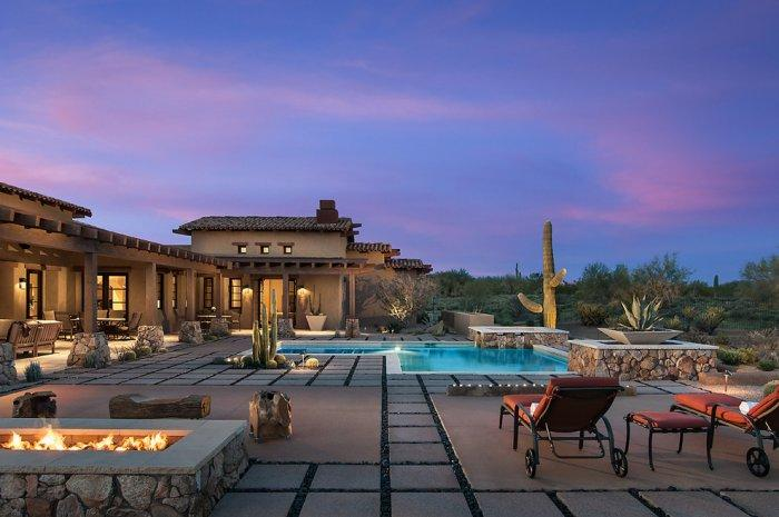 Luxury courtyard at night in a Rustic Family Desert House in Arizona