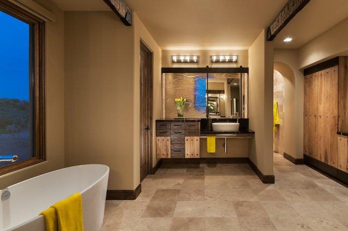 Luxury rustic couple bathroom design in a Family Desert House in Arizona