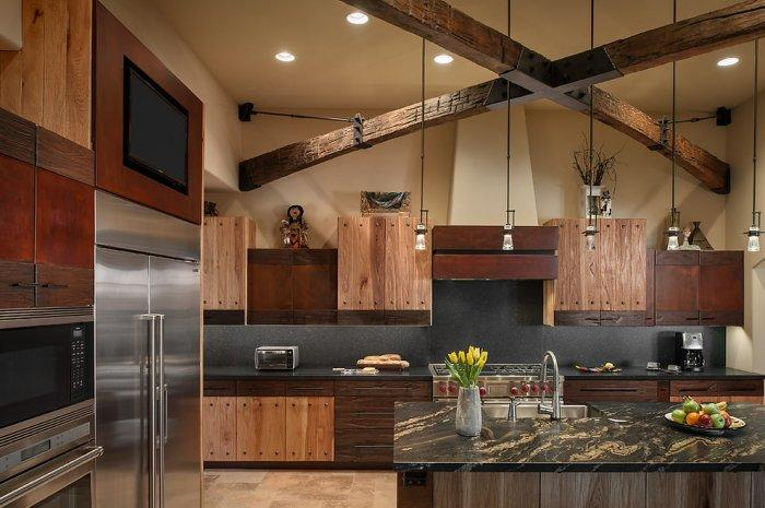 Luxury rustic kitchen interior design in a Desert House in Arizona