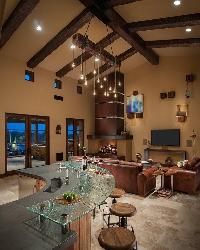 Luxury rustic living room interior design in a Desert House in Arizona