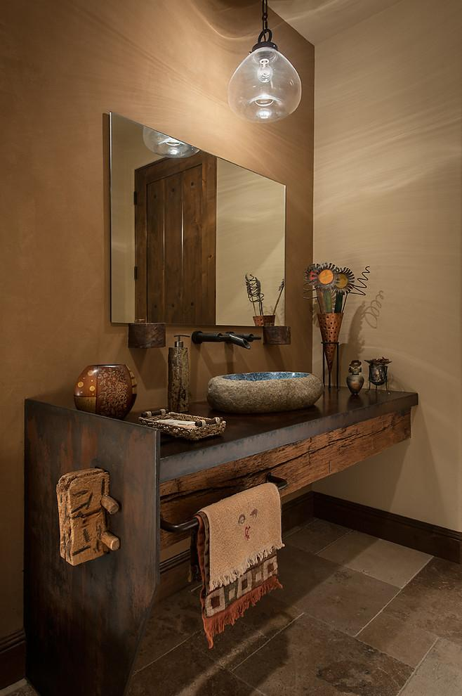 Luxury rustic powder room in a Desert House in Arizona