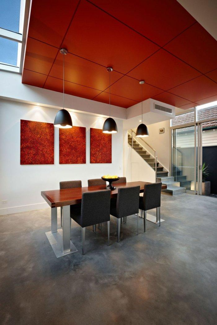 Modern living room in black and red colors - Outstanding Stylish House in Melbourne
