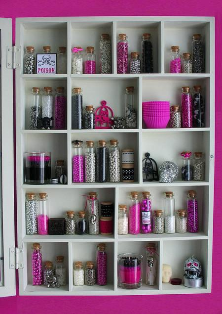 Pink, black, silver and white bottles filled with beads - 36 Ideas for Your Home