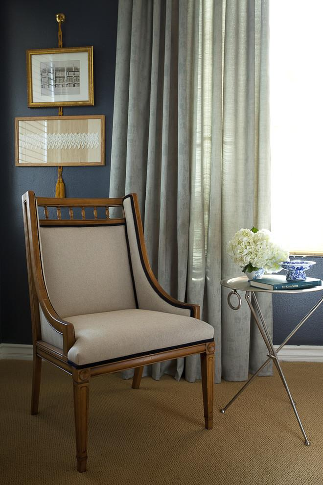 Reading corner with mid-century modern chair and contemporary small table - an Eclectic Home in OC