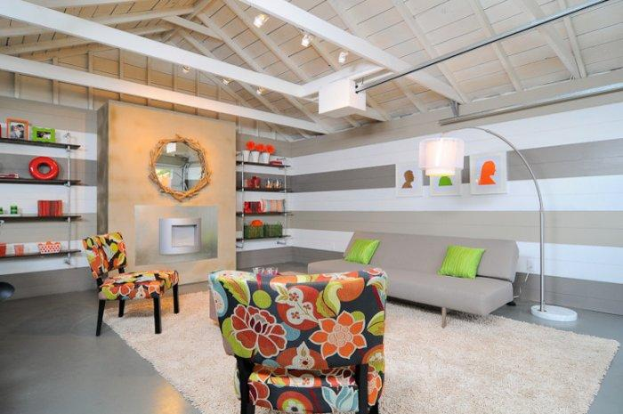 Remodeled garage with colorful interior - Family Fun Room Design Behind the Garage Door