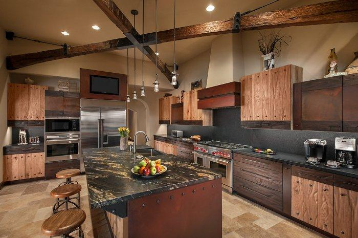 Rustic kitchen with high-tech kitchen appliances in a Desert House in Arizona