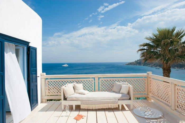 Seaside patio with comfortable furniture - The Paradise Seaside Mediterranean Villa in Mykonos, Greece