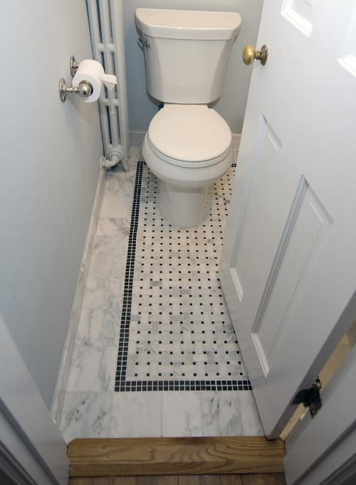 Small powder room with mosaic floor - Exclusive Bathroom Decorating Ideas using Tiles