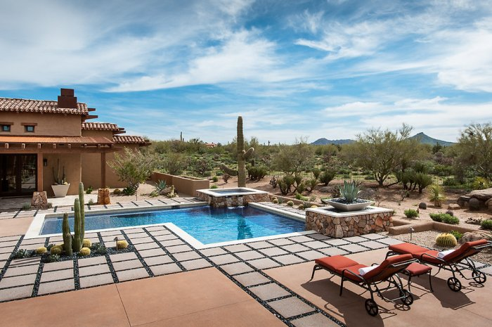 Sunny courtyard of a Luxury Rustic Family Desert House in Arizona
