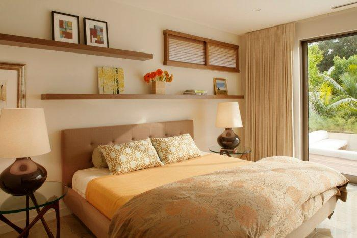 The master bedroom is in warm beige color hues - High-End Ecofriendly Luxury House in Montecito, California