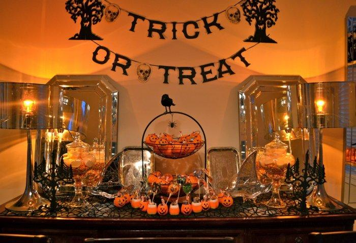 Trick or treat black garland used for Halloween decor - 36 Ideas for Your Home