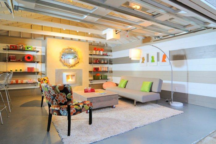 White and grey - Family Fun Room Design Behind the Garage Door