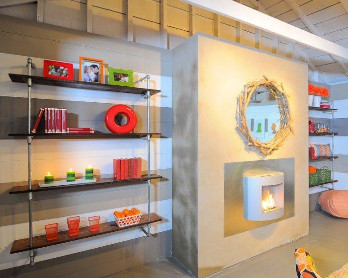 Wooden bookshelves hanging on the wall - Family Fun Room Design Behind the Garage Door