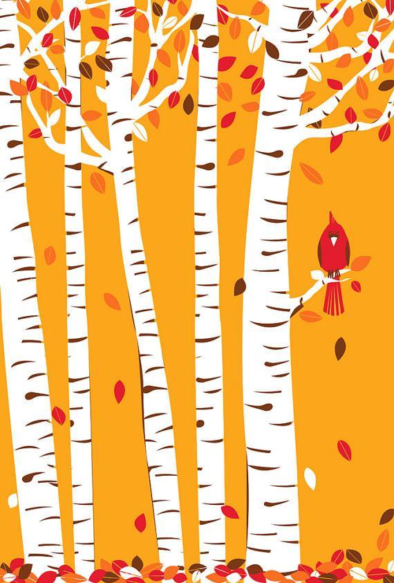 Autumn Cardinal Silkscreen Print by Strawberry Luna - Inspiring Autumn Decorating Ideas in Cute Orange Colors