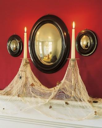 Cobweb Candles - 34 Ideas for Halloween Table Decorations - How To