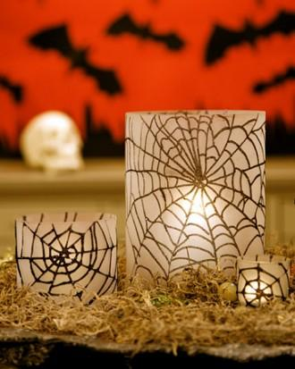 Glittered Spiderweb Hurricanes - 34 Ideas for Halloween Table Decorations - How To