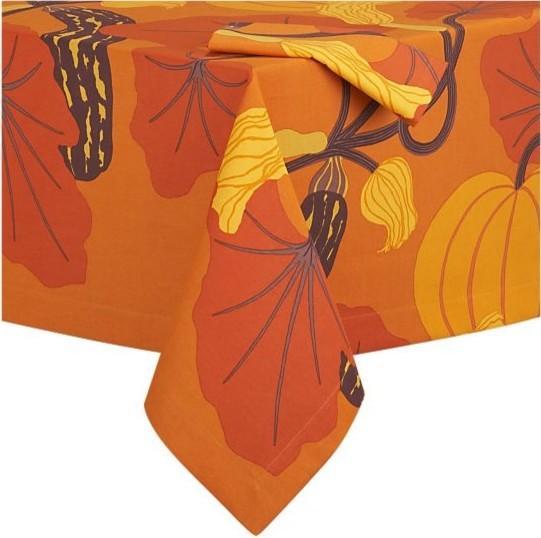 Marimekko Kumina Orange Tablecloth and Napkin - 25 Sweet and Ghoulish Halloween Decor Ideas and Items