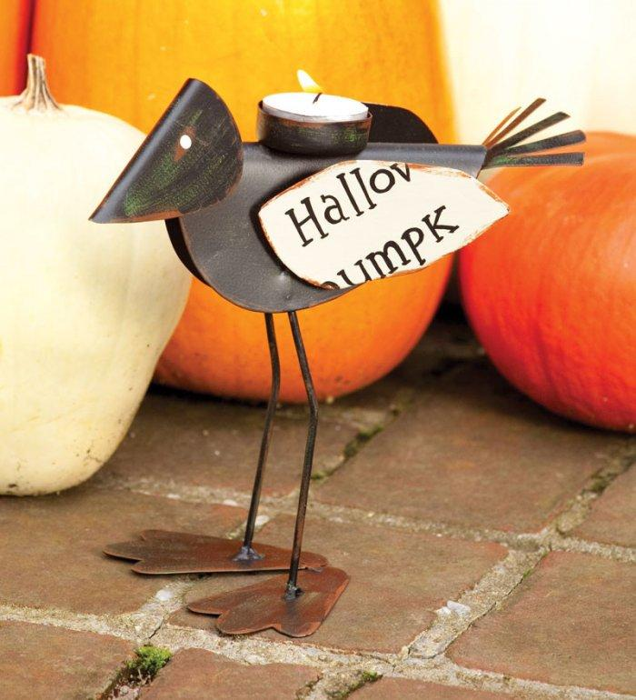 Metal Raven Tea Light Holder - 25 Sweet and Ghoulish Halloween Decor Ideas and Items