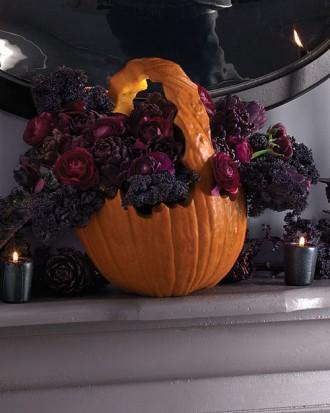 Pumpkin Basket Centerpiece - 34 Ideas for Halloween Table Decorations - How To