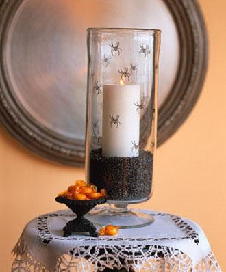 Stamped Spider Hurricane - 34 Ideas for Halloween Table Decorations - How To