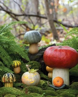 Toadstool Pumpkins - How to Decorate your Outdoor Areas for Halloween