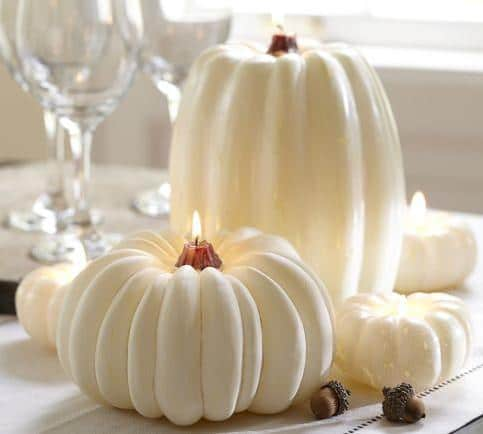 White Pumpkin Candle - 25 Sweet and Ghoulish Halloween Decor Ideas and Items