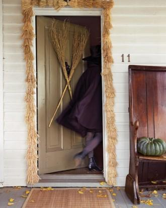 Witches' Broom Door Decoration and Garland - How to Decorate your Outdoor Areas for Halloween