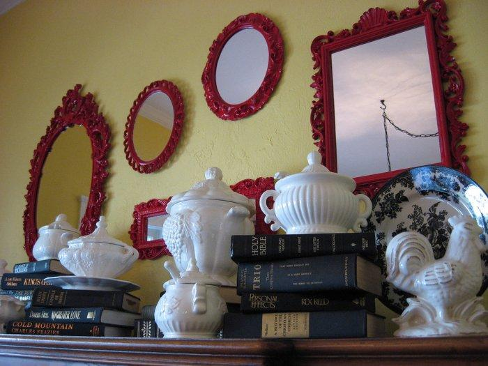 Antique mirrors repainted in red color - inspiring furniture ideas for our homes