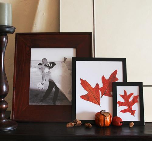 Autumn leaves in black picture frame - 9 Easy DIY Decorating Ideas
